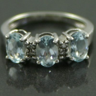 Three stone Aquamarine Ring