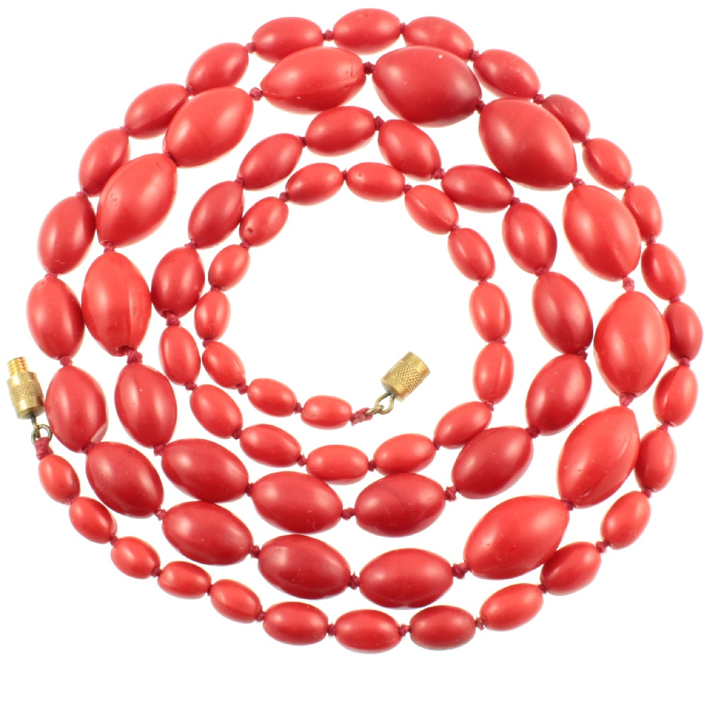 1920s Red Glass Bead Necklace