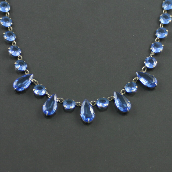 1930s Vintage Blue Czech Glass Necklace