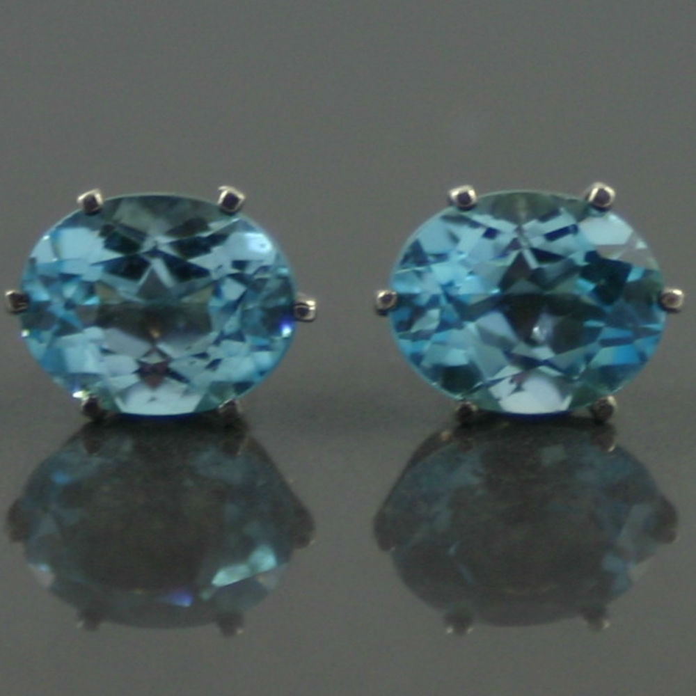 1940s Swiss Blue Topaz Earrings
