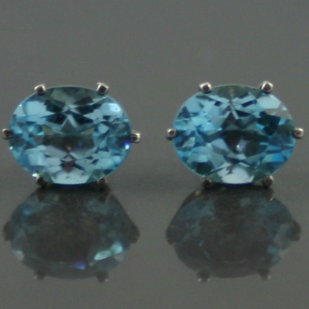 1940s Swiss Blue Topaz Earrings
