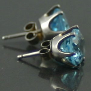 1940s Vintage Swiss Blue Topaz Earrings