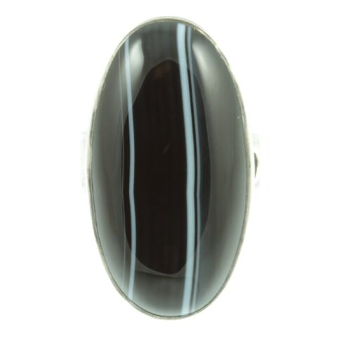 1940s agate silver ring - front view