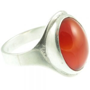 1950s Carnelian silver ring - side view