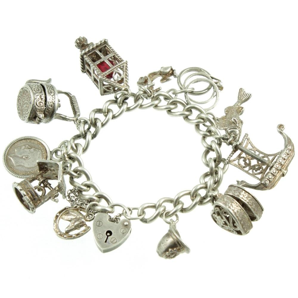 1950s Silver Charm Bracelet - top view