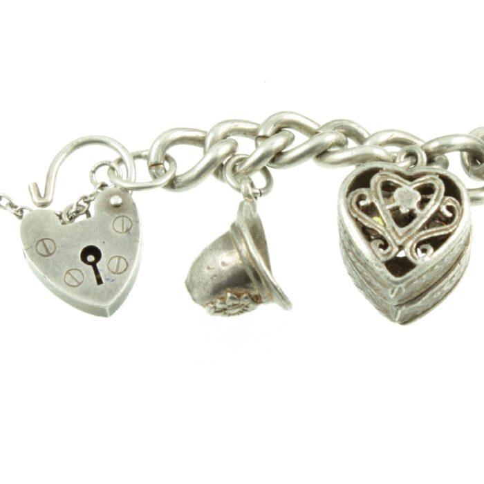 1950s Silver Charm Bracelet - padlock clasp