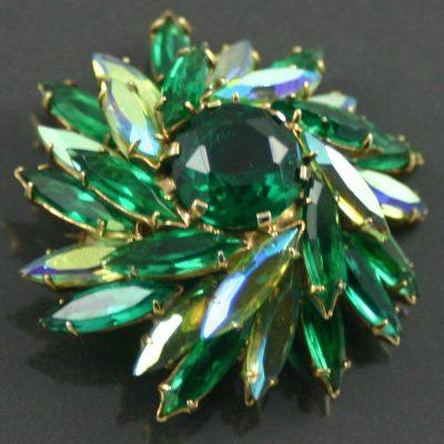 1960s green rhinestone brooch