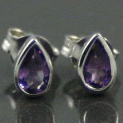 9ct White Gold and Amethyst Earrings