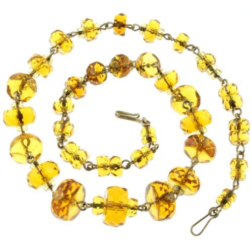 Amber Czech Glass Bead Necklace