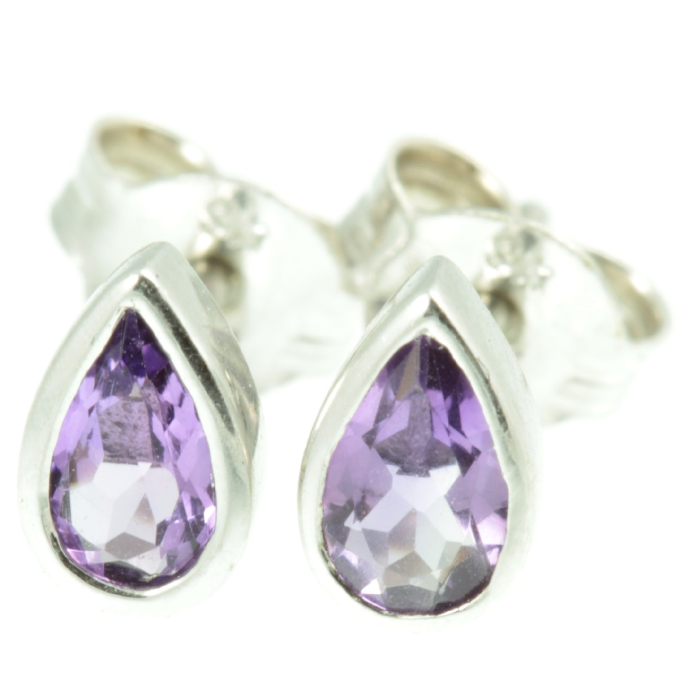 Amethyst and White Gold Earrings - front view