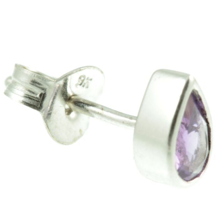 Amethyst and White Gold Earrings - side view