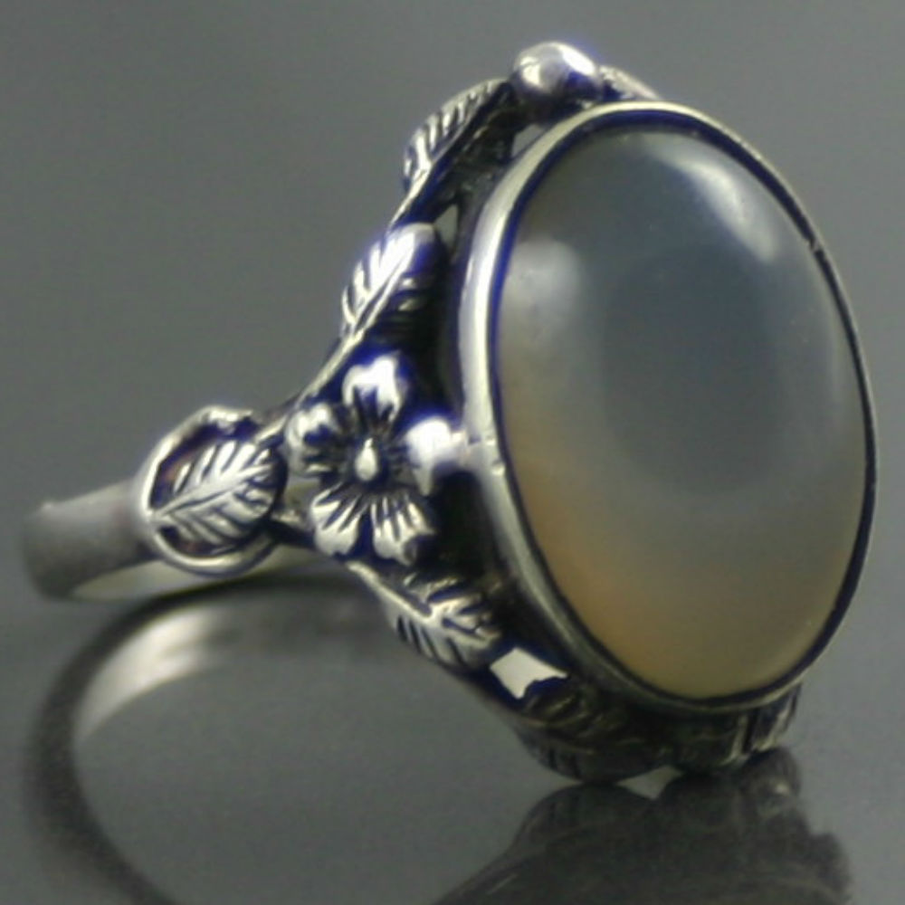 Art Nouveau Moonstone gemstone Silver Ring