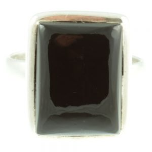 Black Onyx sterling silver ring - front view