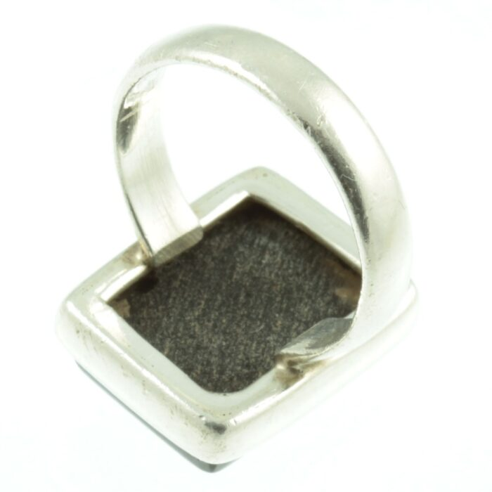 Black Onyx sterling silver ring - inside view