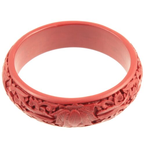Carved red bakelite Bangle - top view