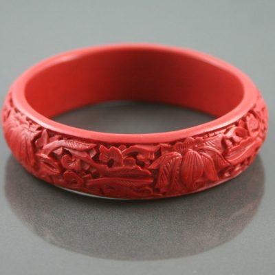 carved red bakelite bangle