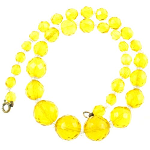 Czech Yellow Crystal Necklace