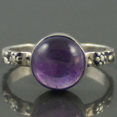 Decorative Amethyst Silver Ring