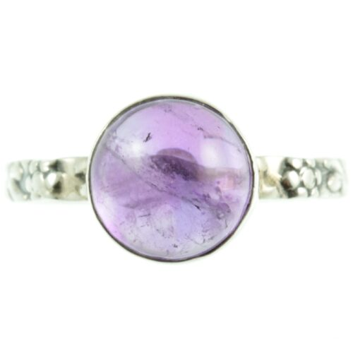 Decorative amethyst and silver ring - front view