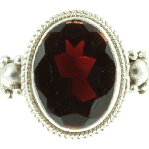 Garnet and sterling silver ring - front view