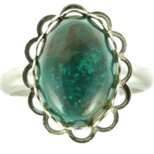 Green Jasper silver ring - front view