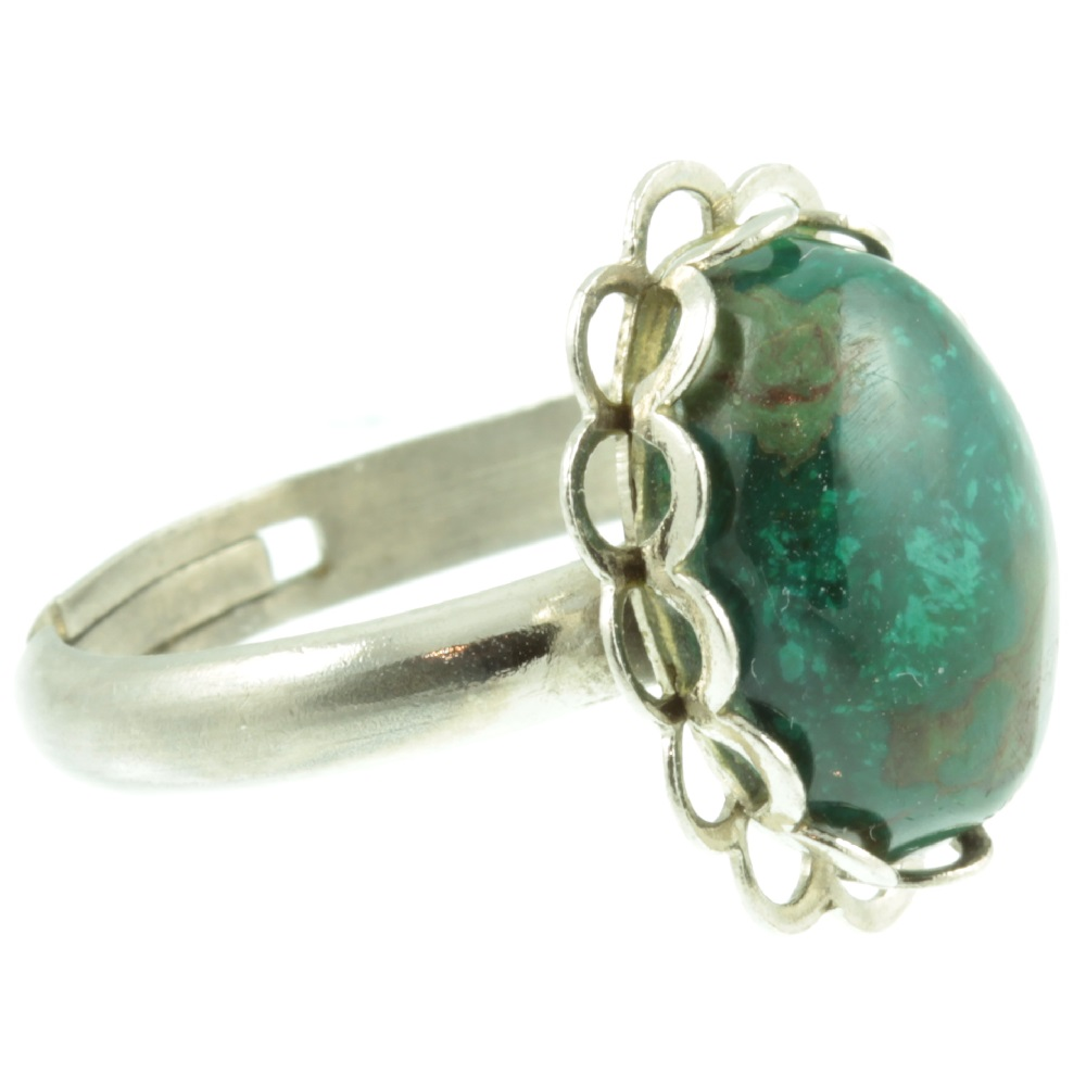 Green Jasper silver ring - side view