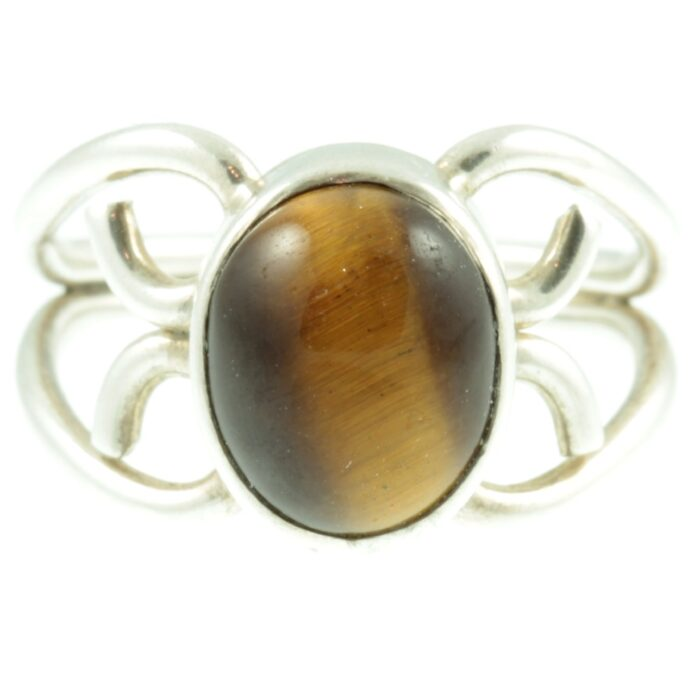Tigers eye silver ring - front view