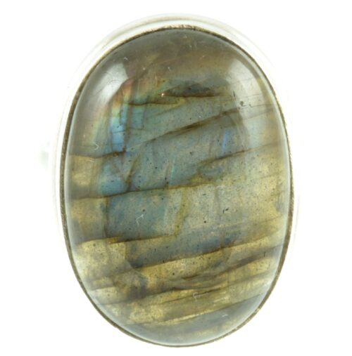 Labradorite gemstone sterling silver ring - front view