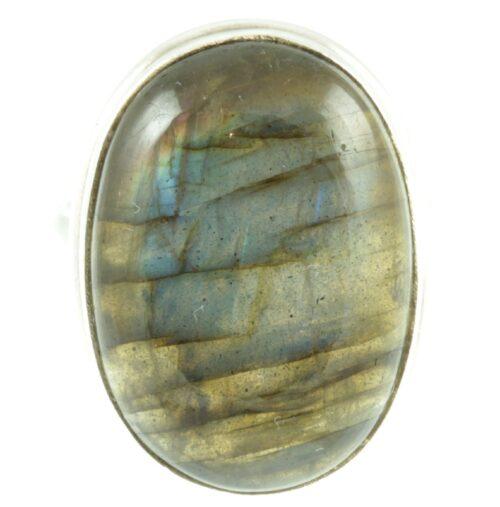 Labradorite gemstone sterling silver ring - front view