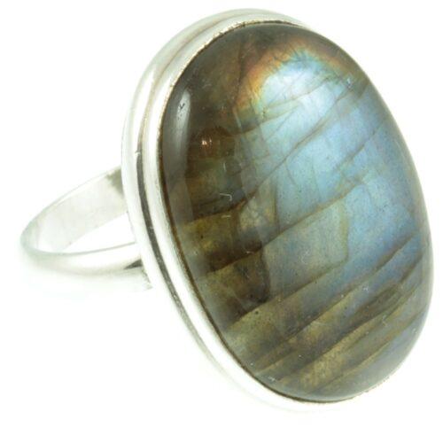 Labradorite gemstone sterling silver ring - side view