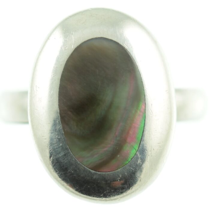 Paua sterling silver ring - front view