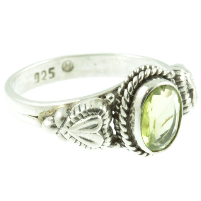 Peridot and sterling silver ring - side view