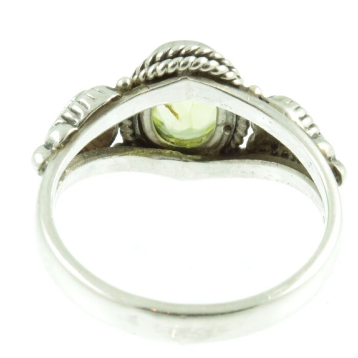 Peridot and sterling silver ring - inside view