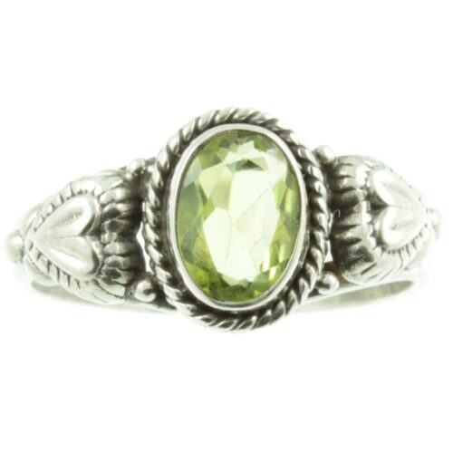 Peridot and sterling silver ring - front view
