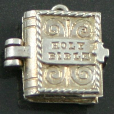 Silver holy bible charm
