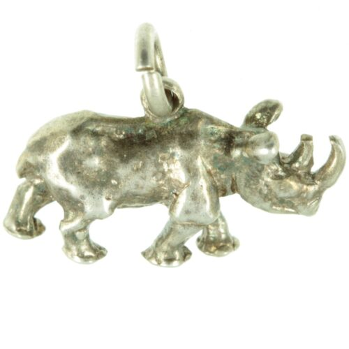 Silver Rhino Charm
