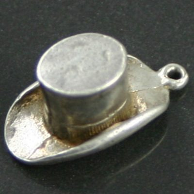 silver top hat charm