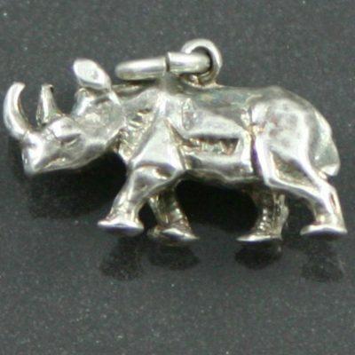 Sterling silver rhino charm