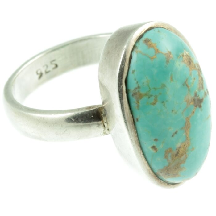 Sterling silver and turquoise ring - side view