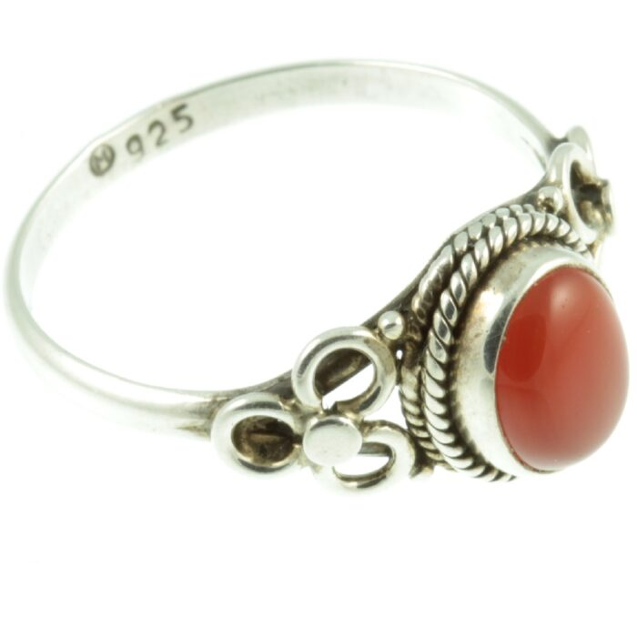 Sterling silver carnelian ring - side view