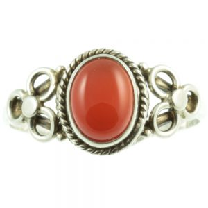 Sterling silver carnelian ring - front view