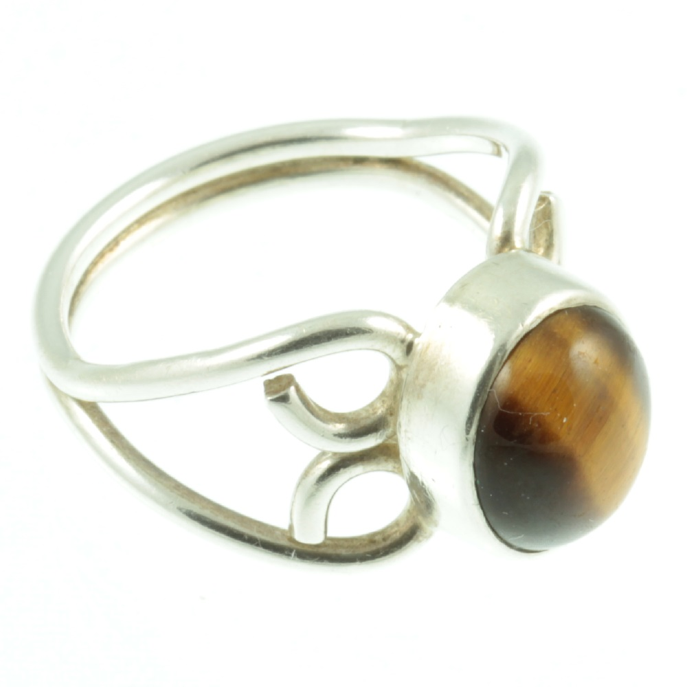 Tigers eye silver ring - side view