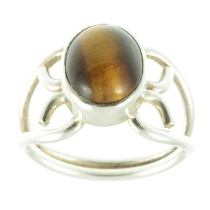 Tigers eye silver ring - top view