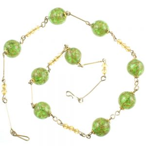 Venetian Aventurine Swirl Glass Necklace