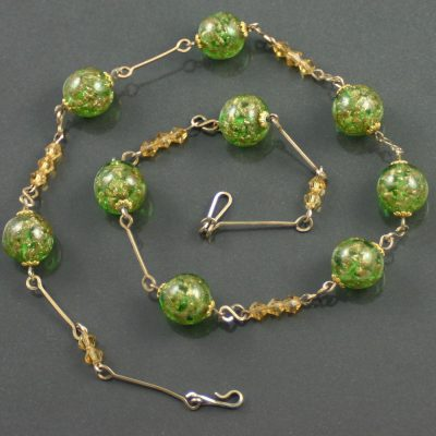 Venetian Glass Aventurine Swirl Necklace