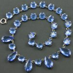 Vintage Blue Czech Glass Necklace