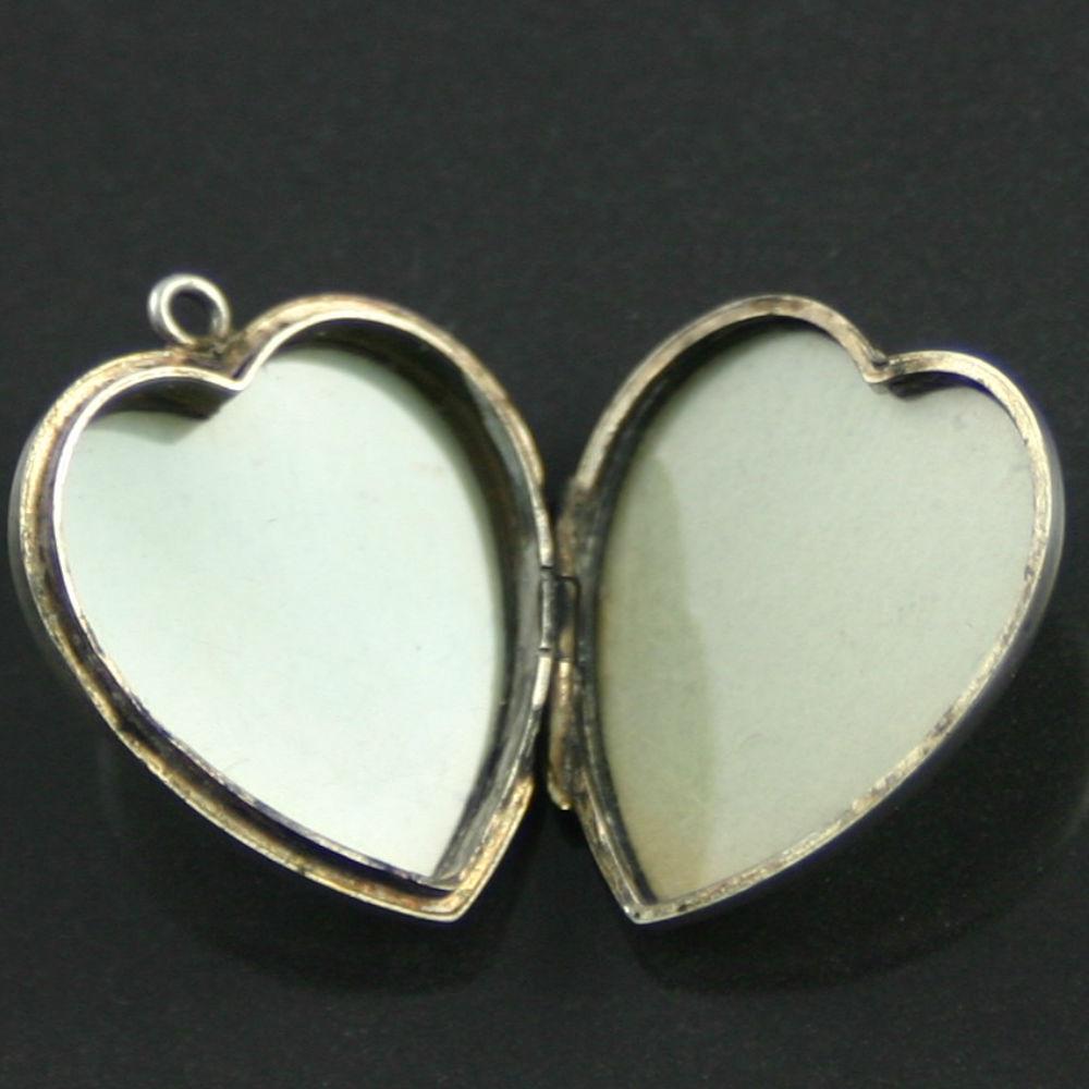 Vintage Sterling Silver Heart Locket 1940s