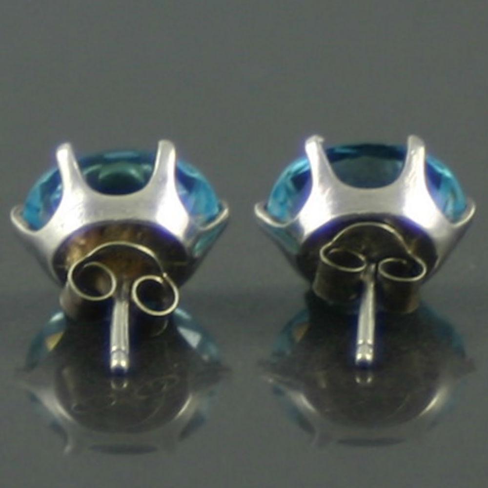 Vintage Swiss Blue Topaz Earrings