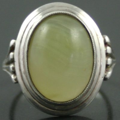 White Agate Sterling Silver Ring