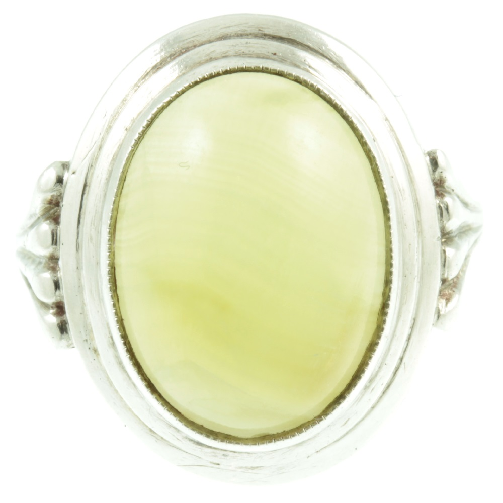 White agate silver ring - front view